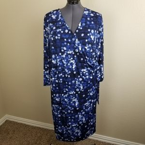 The Limited Blue White Dots Wrap Dress Size 3X